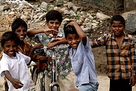 Children playing ; Dilwara town ; Rajasthan ; India