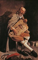 The Hurdy-gurdy player with hat, by Georges de La Tour (1593-1652), oil on canvas, 162x105 cm.  Nantes, Musée Des Beaux-Arts De Nantes (Picture Galler...