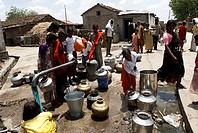 People standing in queue to collect water , Marathwada , Maharashtra , India