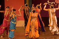 Women performing traditional folk dance Lavani , Maharashtra , India NO MR