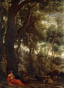 Landscape with shepherd, by Claude Lorrain (1604-1682).  Rome, Galleria Aurora Pallavicini (Art Gallery)