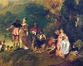 Pilgrimage to the Isle of Cythera, known as Embarkation for Cythera (Cythere), 1717, by Jean-Antoine Watteau (1684-1721), oil on canvas, 129x194 cm. D...