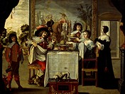 The five senses, taste, by an anonymous painter, copy of an engraving by Abraham Bosse (1602-1676), oil on canvas.  Tours, Musée Des Beaux-Arts (Pictu...
