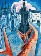The Red Tower in Halle, 1915, by Ernst Ludwig Kirchner (1880-1938).  Essen, Museum Folkwang (Art Museum)