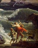 The rescue, detail from The Storm, 1777, by Claude-Joseph Vernet (1714-1789).  Avignon, Musée Calvet (Archaeological And Art Museum)
