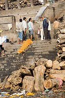 Funeral at Manikarnika ghat at Varanasi ; Uttar Pradesh ; India