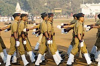 Policemen parade on 26th January at Dadar Shivaji Park ground , Bombay Mumbai , Maharashtra , India