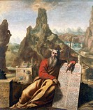 Moses on Mount Sinai, ca 1655, by Jacques de Letin (1597-1661), oil on canvas, 210x232 cm.  Troyes, Musée Des Beaux-Arts Et D'Archéologie (Archaeologi...
