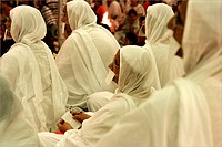 Five Jain Sadhvis lady monks in white saris at Conference , Bombay Mumbai , Maharashtra , India