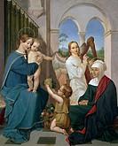Holy Family, 1809-1811, by Peter von Cornelius (1783-1867), oil on canvas, 64x54 cm.  Frankfurt, Städelsches Kunstinstitut Und Städtische Galerie (Art...