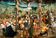 Crucifixion, ca 1500, by Jan Provoost (ca 1465-1529), oil on panel 117x172.5 cm.  Bruges, Groeningemuseum (Picture Gallery)