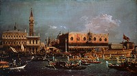 Te return of the Bucentaur to the pier on Ascension Day, ca 1760, by Giovanni Antonio Canal known as Canaletto (1697-1768), oil on canvas, 102x58 cm. ...