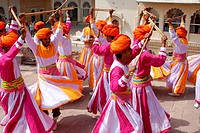 Gair dance inside fort , Jodhpur , Rajasthan , India