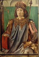 Portrait of Solomon, from the Portraits of Famous Men, 1473-1476, by Pedro Berruguete (d. ca 1504) and by Joos van Wassenhove (active 1460-1480), pane...