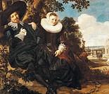 Marriage Portrait of Isaac Massa and Beatrix van der Laen, ca 1622, by Frans Hals (ca 1581-1666), oil on canvas, 140x166 cm.  Amsterdam, Rijksmuseum (...
