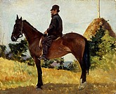 Diego Martelli on horseback, 1868-1870, by Giovanni Fattori (1825-1908).  Florence, Palazzo Pitti (Pitti Palace) Galleria D'Arte Moderna (Gallery Of M...