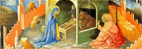 Nativity of Jesus, section of a predella, by Lorenzo Monaco (1370-ca 1425), oil on panel, 19.5 x57.5 cm.  Florence, Galleria Dell'Accademia (Art Museu...