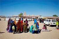 Women buying accessories at Macker dada temple ; Dhrang Rann ; Kutch ; Gujarat ;  India