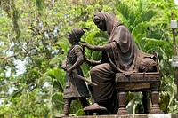 Bronze statue of young Shivaji and his mother jijamata in jijamata garden , Bombay now Mumbai , Maharashtra , India
