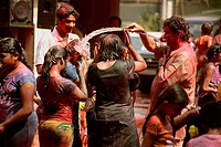 People enjoying Rangpanchami , holi festival , India