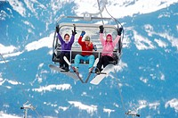 Women on ski lift
