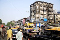 Scene on Maulana Shaukatali road , Grant road , Bombay now Mumbai , Maharashtra , India
