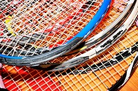 close up of old tennis rackets