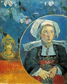The beautiful Angele Satre, the innkeeper at Pont-Aven (La Belle Angele, Madame Satre, Hoteliere a Pont-Aven), 1889, by Paul Gauguin (1848-1903).  Par...