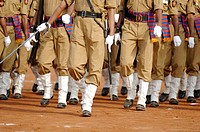 Rehearsal parade for Maharashtra day by police forces & others at shivaji park ; Bombay now Mumbai ; Maharashtra ; India