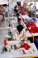 Stitching in a garment industry ; Tirupur ; Tamil Nadu ; India