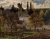 Maison Bourgeoise at Hermitage, 1873, by Camille Pissarro (1830-1903).  San Gallo, Kunstmuseum (Art Museum)