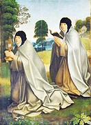 St Clare of Assisi with poor clare nun, 16th century, by unknown Portuguese or Flemish artist