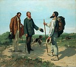 The meeting (La Reconte or Bonjour Monsieur Courbet), 1854, by Gustave Courbet (1819-1877), oil on canvas, 129x149 cm.  Montpellier, Musée Fabre (Pict...