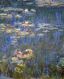 Water Lilies by Claude Monet (1840-1926), detail.  Paris, Musée National De L'Orangerie (Art Museum)