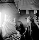 Mahatma Gandhi speaking with Agatha Harrison in a train compartment , 1946 , Pyarelal Nayar NO MR