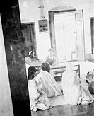 Mahatma Gandhi in a meeting at Khadi Pratishthan , Sodepur , 24 Parganas , Calcutta , 1946 , India NO MR