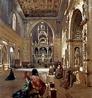Interior of San Giovanni a Carbonara Church, 1867, by Giacinto Gigante (1806-1876), watercolor, 53x49 cm.  Naples, Museo Nazionale Di San Martino (Art...