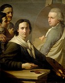 Self-Portrait of the painter with his brother Agostino as he is painting Bernardino Nocchi's portrait, by Stefano Tofanelli (1752-1812).  Roma, Museo ...