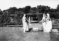 Women paying homage at the spot where Mahatma Gandhi was assassinated at Birla House , Delhi , 1948 , India NO MR