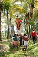 People celebrating Machattu Mamangam festival near Trichur , Kerala , India