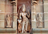 Rishaba Ardhanari sculpture on the exterior wall of Brihadishvara temple is 10th century Chola temple UNESCO World Heritage site ; Thanjavur ; Tamil N...