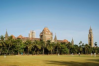 Heritage high court building ; Rajabai tower and Oval ground ; Bombay now Mumbai ; Maharashtra ; India