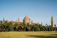 Heritage high court building , Rajabai tower and Oval ground , Bombay now Mumbai , Maharashtra , India
