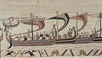 Norman fleet sets sail for England, detail of Queen Mathilda's Tapestry or Bayeux Tapestry depicting Norman conquest of England in 1066, France, 11th ...