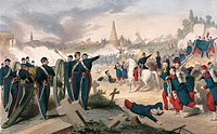 Battle in Pere Lachaise in May 1871 during the Paris Commune. France, 19th century.  Paris, Hôtel Carnavalet (Art Museum), Cabinet Des Arts Graphiques...