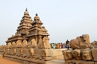 The shore temple in Mahabalipuram ; Tamil Nadu ; India