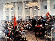 Lenin at a Soviet meeting, 1917, by Vladimir Serov (1910-1968), oil on canvas. Russian Revolution, Russia, 20th century.