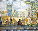 Philip II being proclaimed king of Castile, March 28, 1556, painted Talavera tiles. Palace of the Deputation, Valladolid, Spain, 16th century.