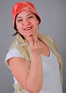 Nice woman with red hat