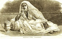 Lithographic portraits Nautch girl Cashmere , Kashmir , Jammu and Kashmir , India
